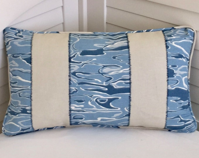 Kravet Waterwave in RIVER Linen Designer 12x20 Lumbar Pillow Cover with Piping