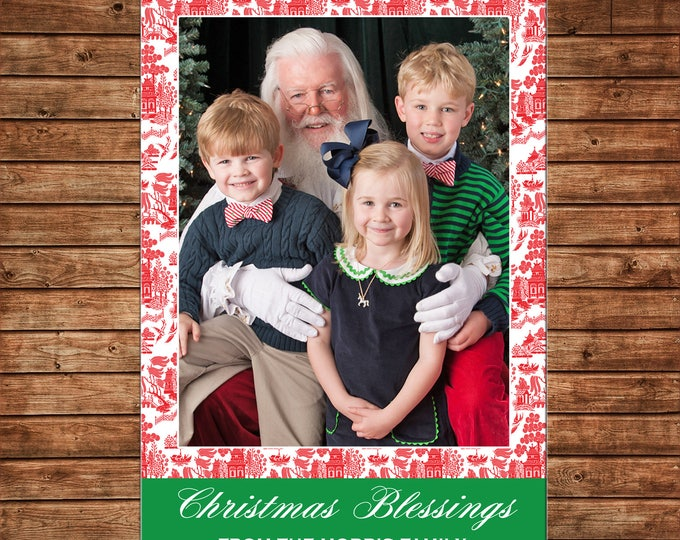 Christmas Holiday Photo Card Red Chinoiserie Elegant   - Can Personalize - Printable File or Printed Cards