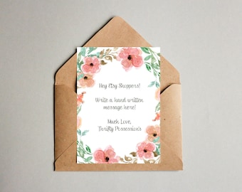 Blank Floral Note Card. 5x7 & 4x6. Instant Download.