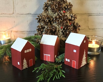Wooden houses,Christmas decor,Home decoration,Christmas gift,Small house,House warming gift,Birthday gift,Christmas village,