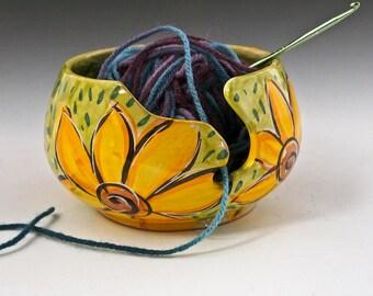 Ceramic Yellow Sunflower Yarn Bowl - Pottery Yarn Bowl - Knitting Bowl - Clay Crochet Bowl - Majolica - String Holder - Gift for Mom Her