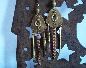 Tribal Earrings-Bohemian Earrings-African Bead Earrings-Ethnic Earrings-Mixed Metal Earrings-Artisan Earrings-Tribal Jewelry