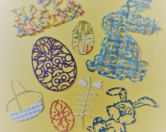 16 Easter Die Cuts, Handmade, Assorted Colors, 3 Bunnies, 8 Eggs, 1 Basket, 2 Lilies, 2 Happy Easter, Sizzix, Cards