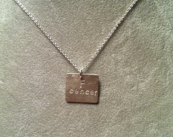 F cancer pendant -- small horizontal rectangle