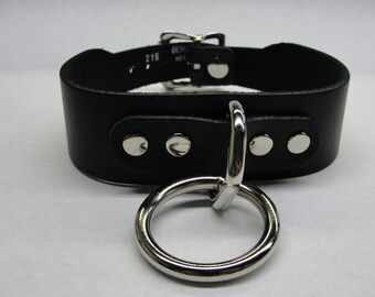Leather O-Ring Collar With Buckle closure Silver/Chrome Hardware Handmade in U.S.A. BDSM Bondage Choker Fetish