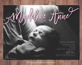 Printable Birth Announcement Card, New Baby Announcement Card, Printable Newborn Announcement, Photo Credit: AMP