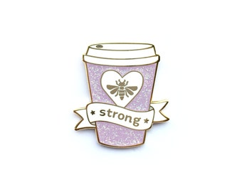 Bee Strong Pin, Enamel Pin, Wishes, iridescent glitter, gold metal, hard enamel, brooche, coffee, strong coffee, coffee pin, coffee cup