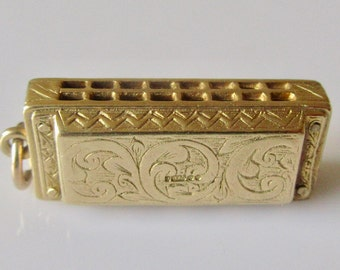 Large 9ct Gold Harmonica Charm or Pendant