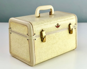 Vintage Gold Dot Semlite Fiberglass Train Case, White Cream Tweed Cosmetic Case, Theater Prop, Unique Luggage, Cosmetic Case