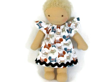 7 inch, 8 inch, 9 inch Waldorf scottie dogs doll dress, toy clothing, tiny doll dress