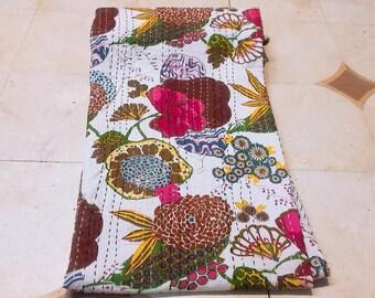 Indian handmade floral twin kantha quilt blanket throw Bohemian bedspread rali gudri