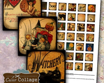 Halloween Digital Collage Sheet - 1x1 Inch Inchies - Halloween Collage Sheet - Halloween Images - Vintage Collage Sheet