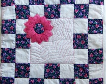 Quilted Coaster Mug Rug or Mini Quilt Scrappy Dresden Flower Checkerboard in Pink and Purple Reversible