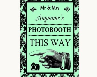 Mint Green Damask Photobooth This Way Left Personalised Wedding Sign
