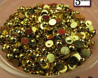 200 pcs 5 mm GOLD Tone HALF PEARL Flatbacks / Decoden Half Pearls