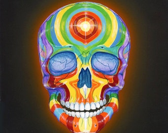 Glowing Rainbow Skull Painting