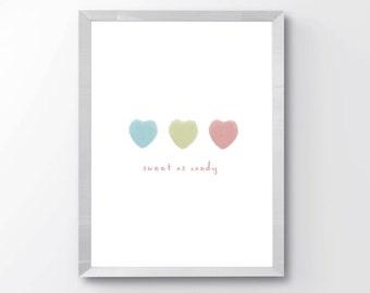 Candy Wall Art PRINTABLE - Nursery Decor - Girls Room Decor - Sweet as Candy Print - Candy Lover Print - Minimalist Nursery Print