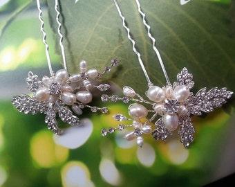 Pearl Hair Pins, Rhinestone Hairpiece, Crystal Hairpins, Wedding Hair Accessory, Crystal Hair Pins, Bridesmaid Hair Pins,