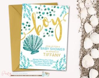 Under The Sea Baby Shower Invitation, Beach Baby Shower Invitation,  Seashells Baby Shower Invitation
