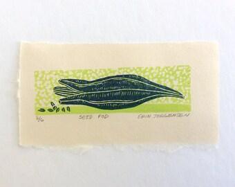 mini linocut - SEED POD //  printmaking // block print // nature art // blue, green // original art // small, miniature // seeds // 3x5