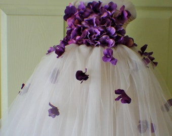 Flower Girl Dress, Tutu Dress, Photo Prop, in Champagne and Purple Hydrangeas, Flower Top, Tutu Dress
