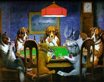 Dogs playing poker cross stitch pattern or photoprint/iron on transfer/sticker/ cross stitch chart available for DMC or ANCHOR threads