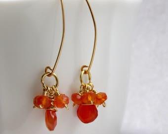 Carnelian Earrings, Febuary Birthstone, orange gemstone earrings, gift for her,gift women, gift for mom Mother's Day gift