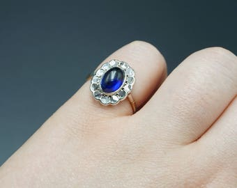 Victorian Sapphire and Rose Cut Diamond Halo Ring / Antique Sapphire 14K Gold Engagement Ring