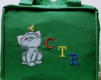 CTR Scripture Cover - Green Canvas with Embroidered Kitten