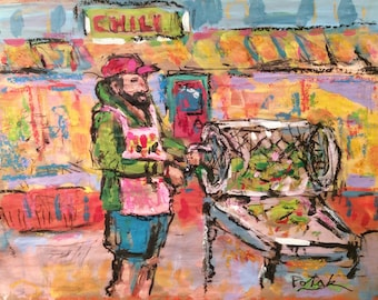 Santa Fe Painting, New Mexico, Chili peppers, chili roaster, by artist Russ Potak