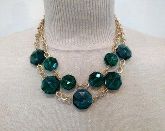 Emerald Green Faceted Crystal Beads with Matte Gold Chain & Matching Earring