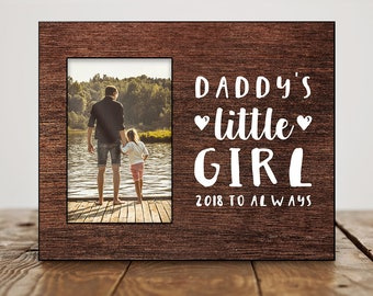 Custom Fathers Day Gift from Daughter Fathers Day Photo Frame Birthday Gift for Dad from Daughter Daddys Little Girl Cute