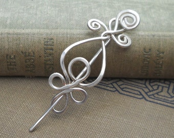 Little Celtic Loops and Spirals Sterling Silver Shawl Pin Brooch, Scarf Pin, Sweater Clip Closure Lace Shawl Pin Knitting Gifts for Knitters