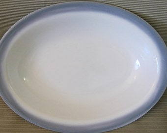 Sterling China Restaurant Ware Grey Band Oval Vegetable Serving Bowl Baker  12x8x2 Pristine