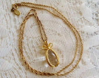"""Joan Rivers Glass Egg Pendant Necklace 24"""" Goldtone Chain Signed Hangtag Vintage Spring Easter Egg Collection Jewelry"""