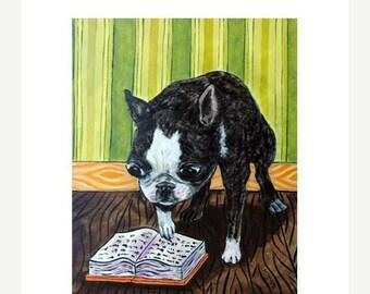 25% off Boston Terrier Reading Dog Art Print