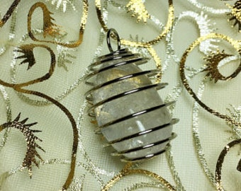 Wire Wrapped Pendant Crystal Necklace infused w/ Reiki