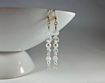 Icicle Crystal and Pearl Swarovski Long Earrings