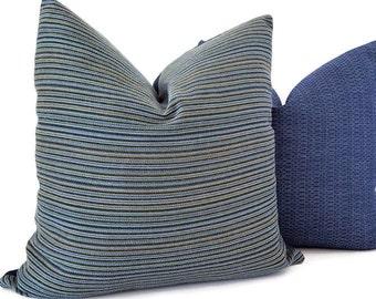 Navy Outdoor Pillow - Sunbrella Striped Pillows - Sunbrella Outdoor Cushions - Outdoor Pillows - Sunbrella Fabric - PILLOW COVER ONLY