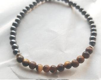 Tigereye and hemitite gemstone 4mm beaded strech bracelet