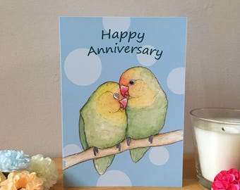 Lovebird Anniversary Card, A6 Size, Couples card, blank greeting card, with white envelope, blue background, parrot love illustration