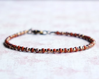 Red And Bronze Bracelet, Stacking Bracelet, Red Seed Bead Bracelet, Simple Bracelet, Minimalist Bracelet, Dainty Bracelet, Beaded Bracelet