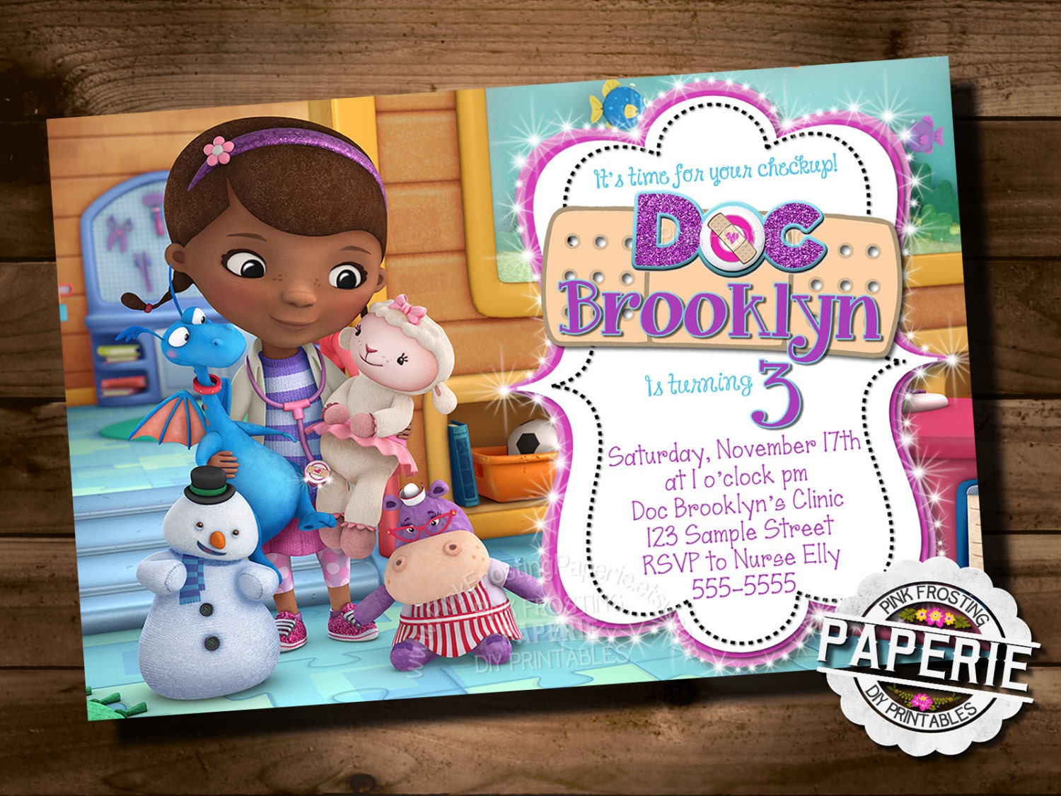 DOC MCSTUFFINS BIRTHDAY Invitation Doc McStuffins Party