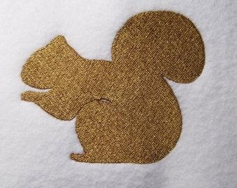 Squirrel embroidery design, squirrel silhouette embroidery, 4 sizes mini design, filled stitch wildlife embroidery design