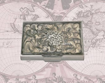 Stark Wolf Large Business Card Case Inlaid in Hand Painted Enamel in Gray Swirl Design Game of Thrones Inspired with Personalized Options
