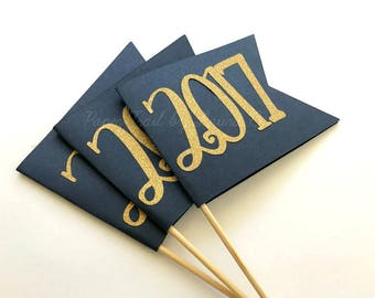 5 Class of 2018 Graduation Center Pieces in Navy Blue and Gold.  Graduation Party Decorations.  Congratulations Grad. Customize Your Colors!