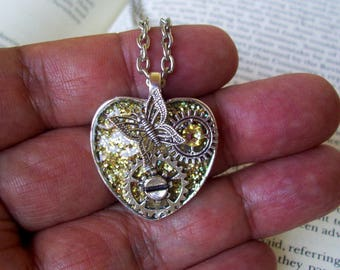 Steampunk Heart Necklace (N710) Yellow Gold Sparkle Base Pendant, Heart Shape Tray, Swarovski Crystals and Silver Gears, Butterfly, Chain
