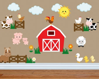 Wall Decals for Kids Bedroom - Farm Animal Wall Decals - Farm Animal Nursery Decor - Farm Animal Kids Room