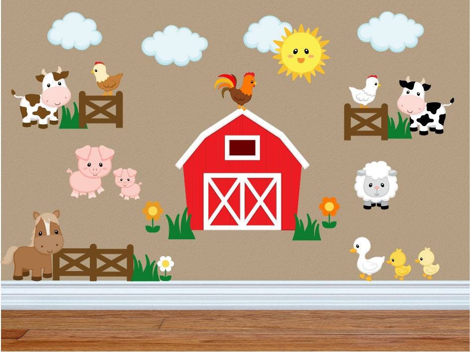 Wall Decals For Kids Bedroom Farm Animal Wall Decals Farm