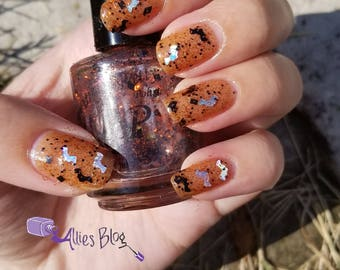 Chills and Thrills, indie nail polish, glitter nail polish, orange nail polish, 5 free nail polish, paint it pretty polish